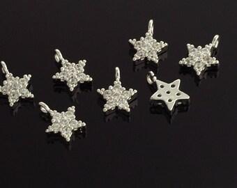 3003092 / Star / Rhodium Plated Brass with Cubic Zirconia Pendant 5.8mm x 7.5mm / 0.2g / 2pcs
