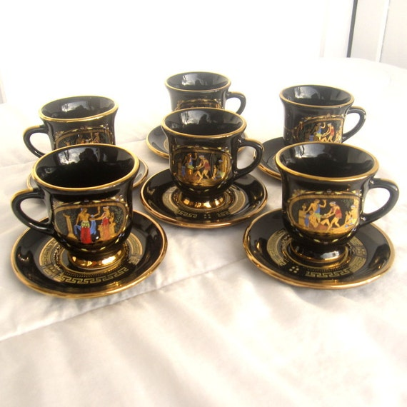 Teacup and Saucer Set by ADIS Handmade in Greece, Set of 6 Espresso Black and 24 Carat Gold