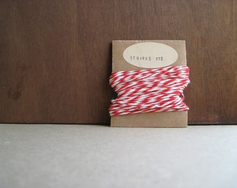 Red and White Twine - 10 yds - 12 ply