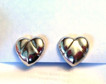 Jondell Mexico Sterling Silver Puffed Heart Clip On Earring