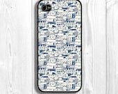 City Iphone Case, houses iphone case, artistic Iphone case, suburb Iphone Cover, blue Iphone Sleeve,  Fits iPhone 5, iPhone 4s & iPhone 4