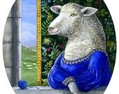 The Shepherdess Renaissance Lady Sheep portrait fine art print