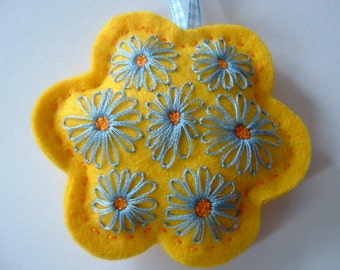 Yellow Flower Felt Hanger with Hand Embroidered Daisy Pattern