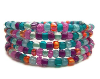 Glass Beaded Wrap Bracelet - Handmade Jewelry - Colorful Jewelry - Homemade - Silver Plated