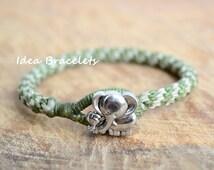Elephant bracelet, Green beaded bracelet, Unisex bracelet, Macrame Bracelet, Unique Handmade Bracelet, Mother Daughter Bracelet