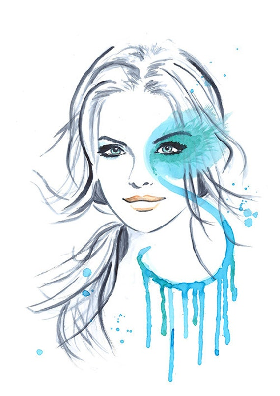 Print from Original Watercolor Illustration Portrait Art Painting titled Some Mint For You
