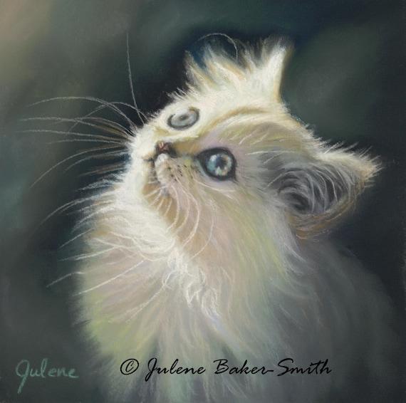 Little Fluff: Fine Art Print of a Little White Kitty