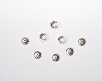 25 PCs silver 7mm bead caps PK050