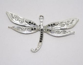 2 Pcs. charms /metal pendants  large Dragonfly / antique silver tone A193