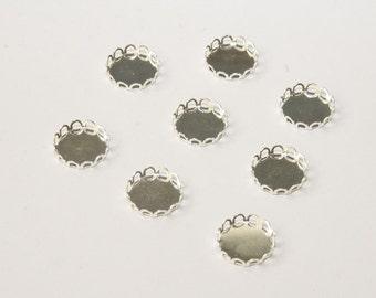 10 Pcs. bezels / round settings / pendant trays silver tone  /12mm FAS002