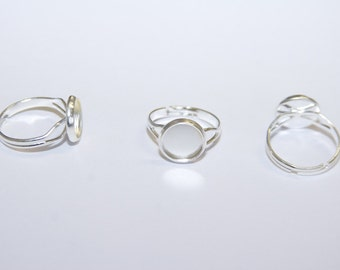 5 Pcs. Bezel Ring settings / blanks with tray / silver tone /  12mm, fits 10mm Cabochons R042