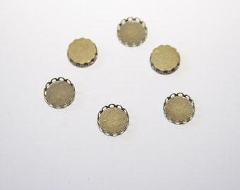 10 Pcs. bezels / round settings / pendant trays / bronze tone / 10mm FAS009