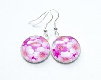 Great earrings pink-pink flowers S3281