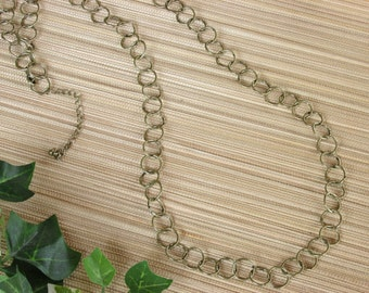 Gold Long Chain Necklace with Round Link