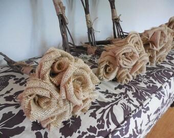 Burlap Bouquet  / Qty 5 Wedding bouquets  Forever flower