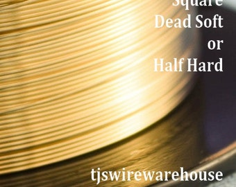 Gold Filled Wire, 14k, 14g-24g, Square, Dead Soft, Half Hard, Length Choice,  Wholesale