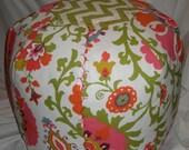 Round Custom Floor Poufs, ikat, floral, geometric, stripe