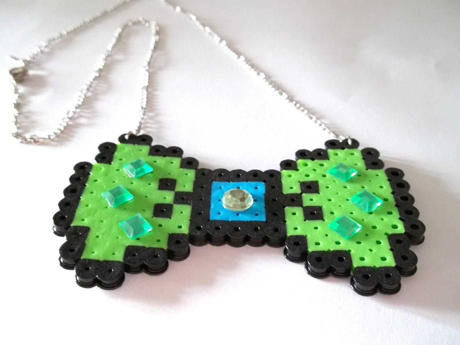 sale green and blue bow perler bead necklace with by
