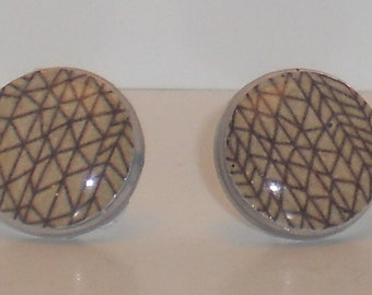 Brown Triangles Post Earrings
