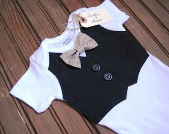 Black Vest Onesie with Beige Bow Tie, Vest Onesie, Bow Tie Onesie, Bow Tie Onesie, Baby Boy Wedding, Baby Vest, Red Baby Bow Tie