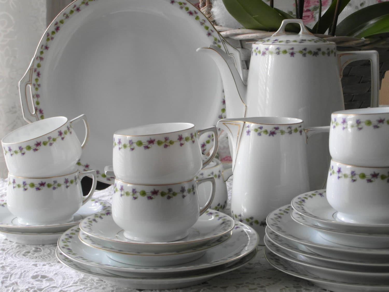 antik kaffee service 6 personen thomas teeservice mit veilchen. Black Bedroom Furniture Sets. Home Design Ideas