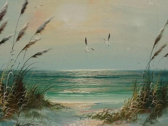 Vintage Seascape Oil On Canvas Signed B Thompson