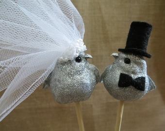 Silver Love Bird Wedding Cake Topper, Wedding Bird Cake Topper, 25th Anniversary Cake Topper, Rustic Cake Topper