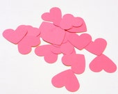 Bright Pink Paper Heart - DIY Valentines Day, Baby Shower Girl, Wedding, Scrap Book Embellishment (100 count)