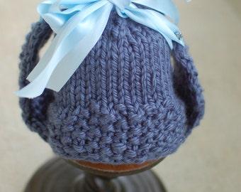 Blue Satin Ribbon Earflap Hat