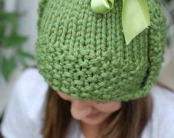 Green Satin Ribbon Earflap Hat