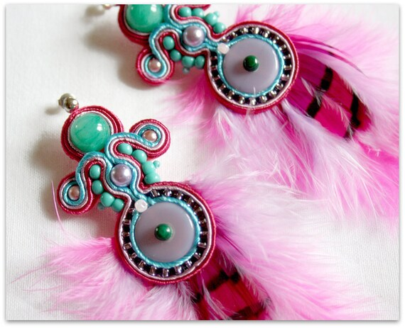 Pink and Turquoise soutache earrings with feathers, HANDICRAFT