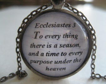 To Every Thing There Is A Season Scripture Necklace Bible Verse Ecclesiastes 3