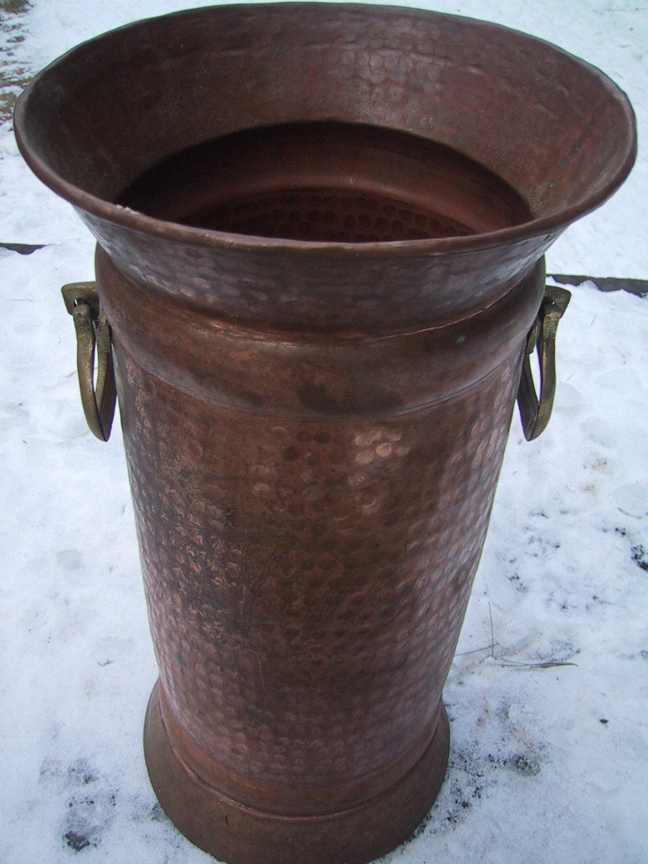Large Vintage Solid Copper And Brass Vase Or Umbrella Stand