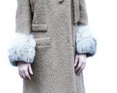 Vintage 1960's Pierre Cardin of Paris Camel Wool Coat with Fur Cuffs