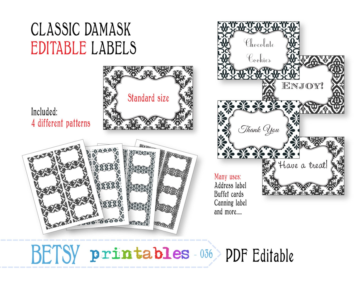 Labels: Editable Labels Or Tags Damask Digital Labels Or Tags PDF
