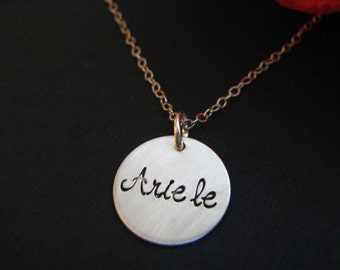 Personalized Necklace, Silver Disc Necklace, Child's Name, New Mom Gift, Baby, Personalized Gift