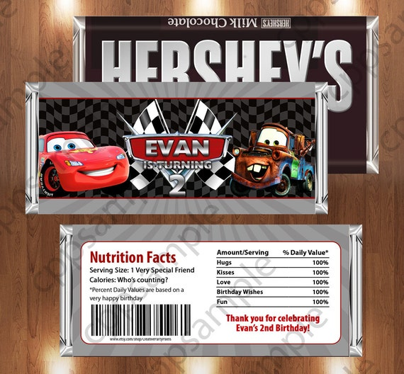 Disney Car Printable Candy Bar Wrappers -Mcqueen and Mater Birthday Party - Digital File