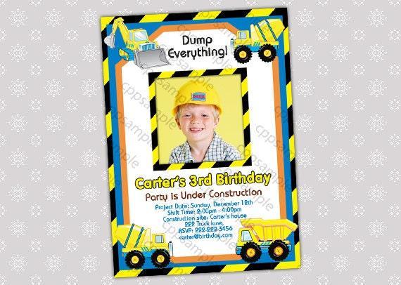 Items similar to Tonka Truck Invitation for Construction Birthday – Tonka Birthday Invitations