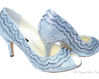 Silver swarovski crystal white mid heel wedding bridal peeptoe Mid heel shoes