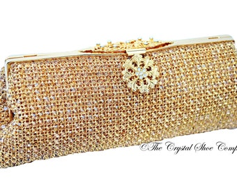 Swarovski crystal gold Bridal Wedding Minaudiere diamond soft mesh rectangle clutch purse bag