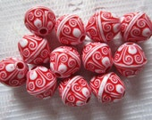 12  Red & White Ornate Etched Puffed Saturn Acrylic Beads  13mm x 12mm
