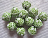 12  Medium Grass Green & White Ornate Etched Puffed Saturn Acrylic Beads  13mm x 12mm