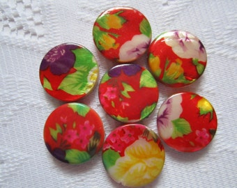 5  Bright Red Yellow & Green Floral Mother Of Pearl Resin Round Flat Coin Beads  25mm