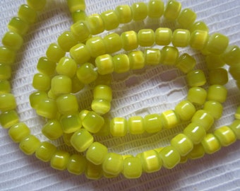 52  Bright Lemon Yellow Optic Tube Glass Beads  4mm x 4mm
