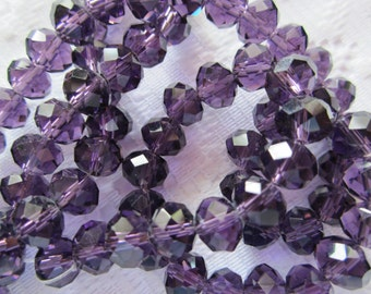 16  Dark Grape Purple Faceted Rondelle Crystal Beads  8mm x 10mm