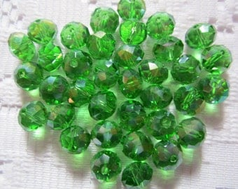 24  Grass Green AB Faceted Rondelle Crystal Beads  8mm x 6mm