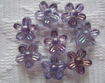 28  Shades Lilac Lavender Purple AB Flower Acrylic Beads  10mm
