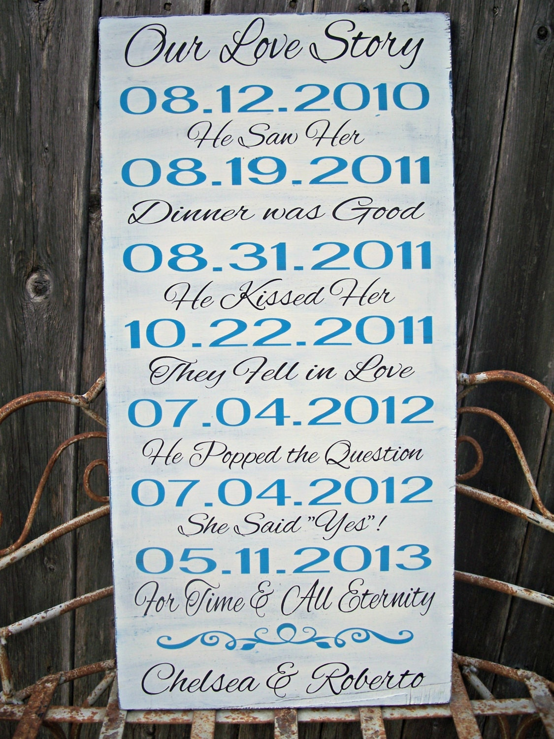 Personalized Our Love Story Wedding Sign By Castleinndesigns