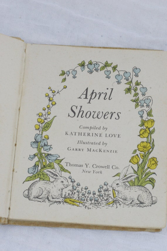 April Showers classic childrens poems and robins egg blue and