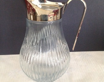 Vintage Italian Glass Pitcher with Silver Plated Handle and Spout